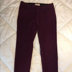 Maroon skinny stretch pants